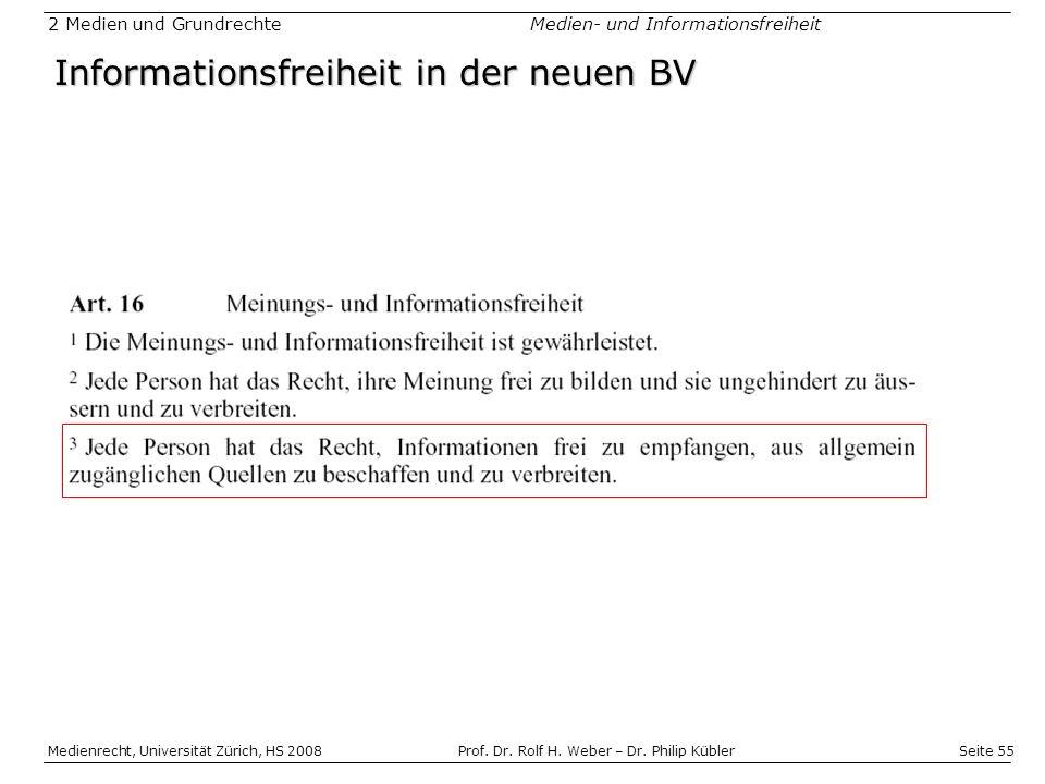 Informationsfreiheit in der neuen BV
