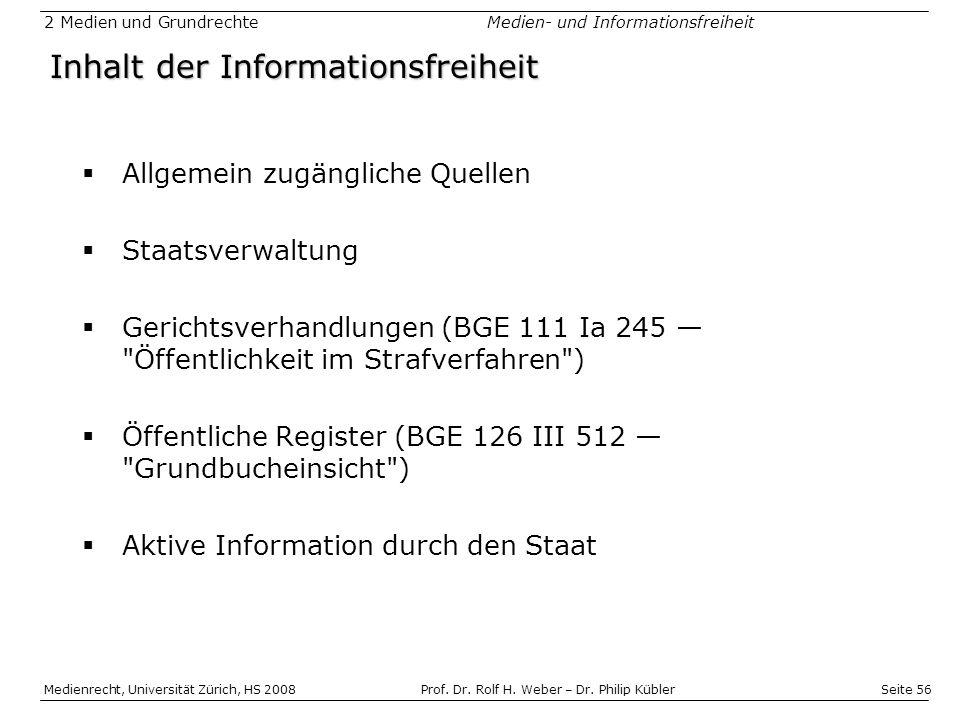 Inhalt der Informationsfreiheit