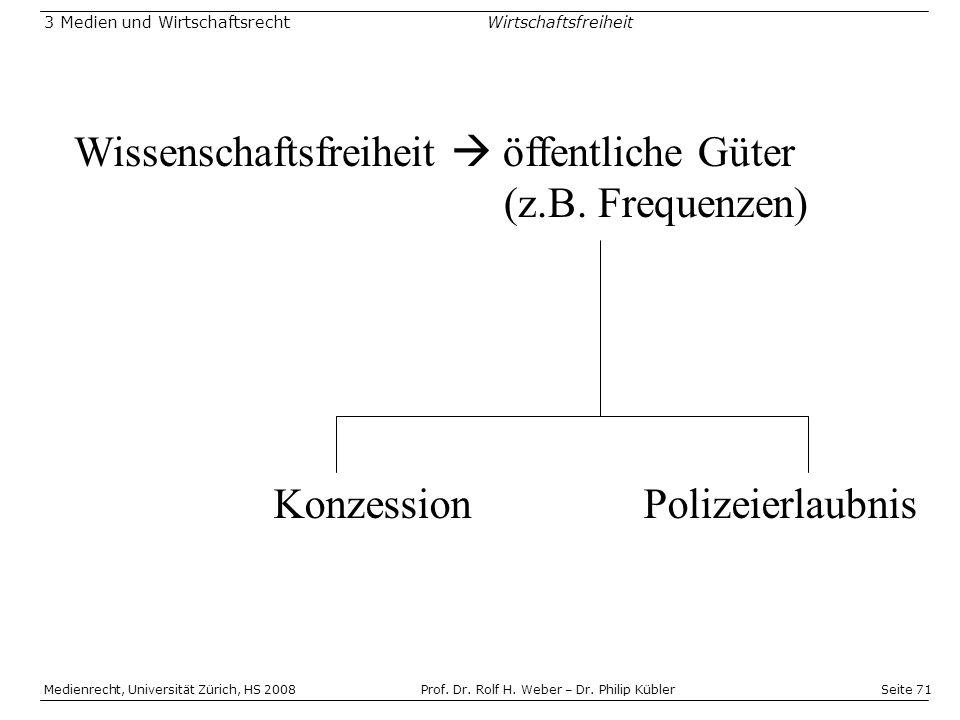 Wissenschaftsfreiheit  öffentliche Güter (z.B. Frequenzen)