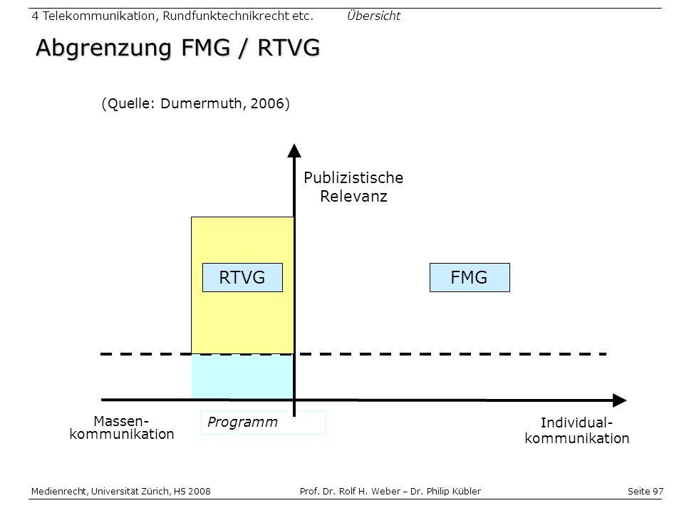 Abgrenzung FMG / RTVG RTVG FMG Publizistische Relevanz