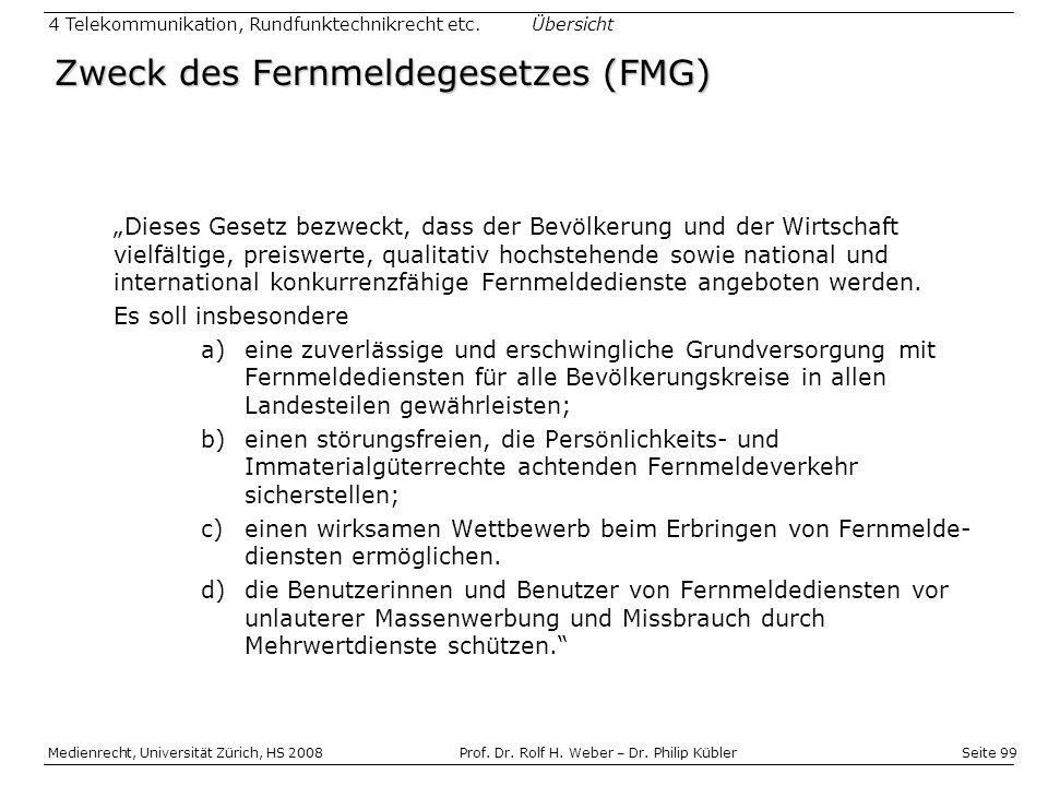Zweck des Fernmeldegesetzes (FMG)
