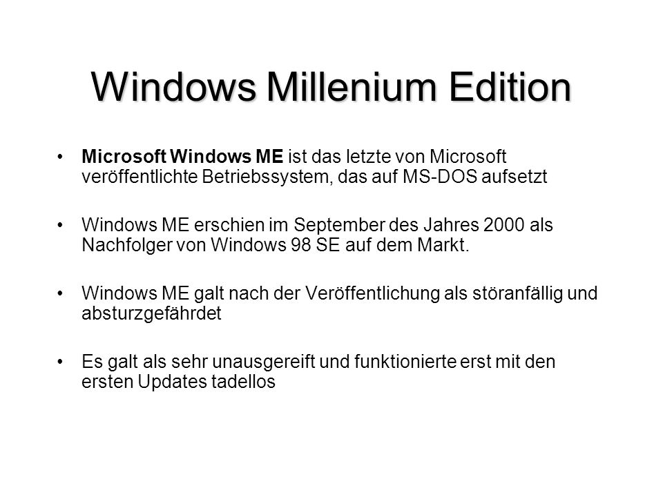Windows Millenium Edition