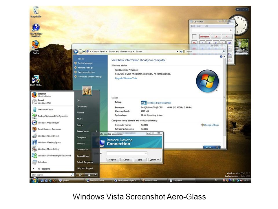 Windows Vista Screenshot Aero-Glass