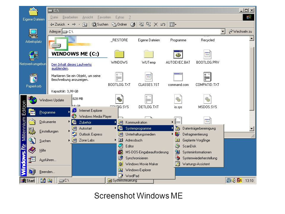 Screenshot Windows ME