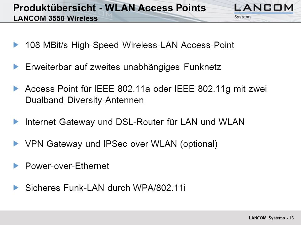 Produktübersicht - WLAN Access Points LANCOM 3550 Wireless