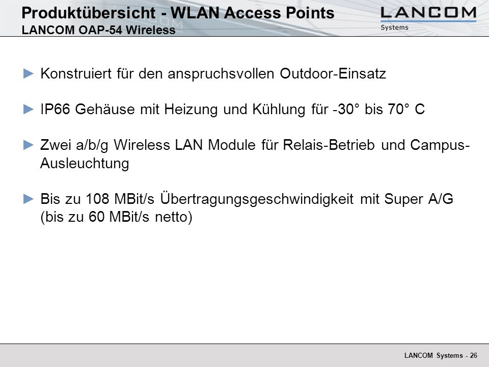 Produktübersicht - WLAN Access Points LANCOM OAP-54 Wireless