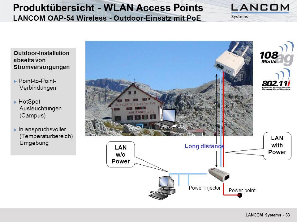 Produktübersicht - WLAN Access Points LANCOM OAP-54 Wireless - Outdoor-Einsatz mit PoE