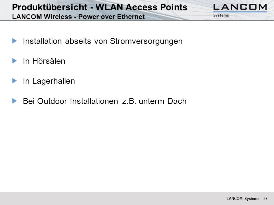 Produktübersicht - WLAN Access Points LANCOM Wireless - Power over Ethernet