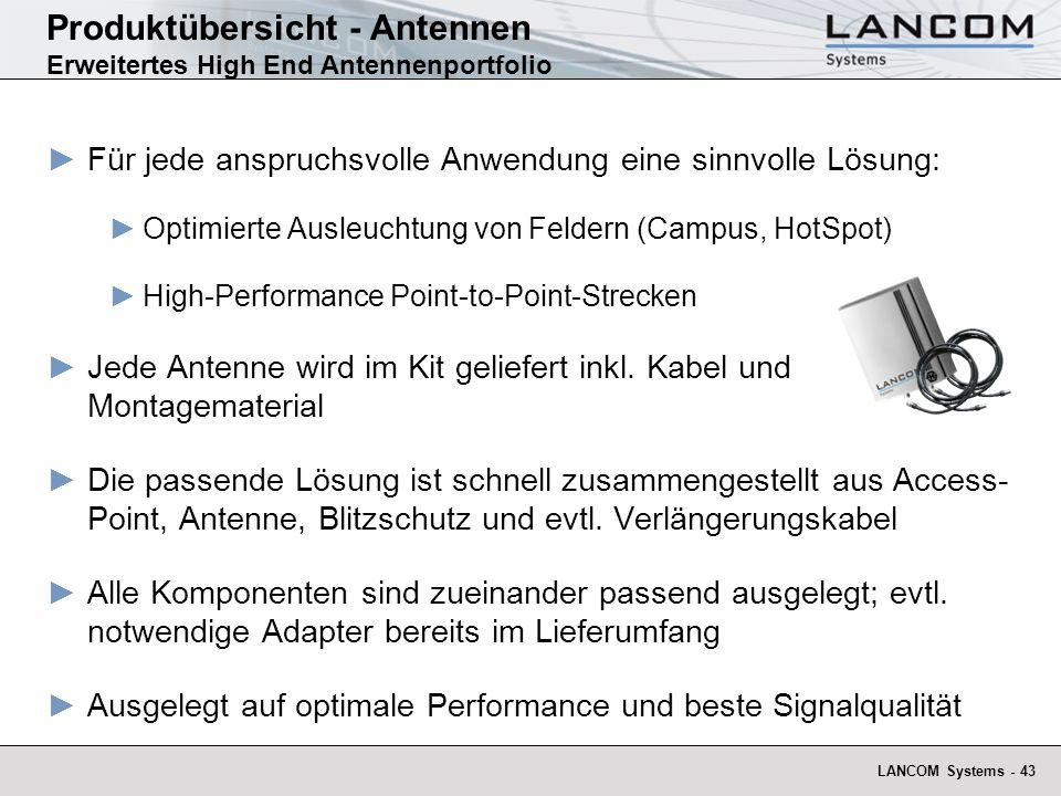 Produktübersicht - Antennen Erweitertes High End Antennenportfolio