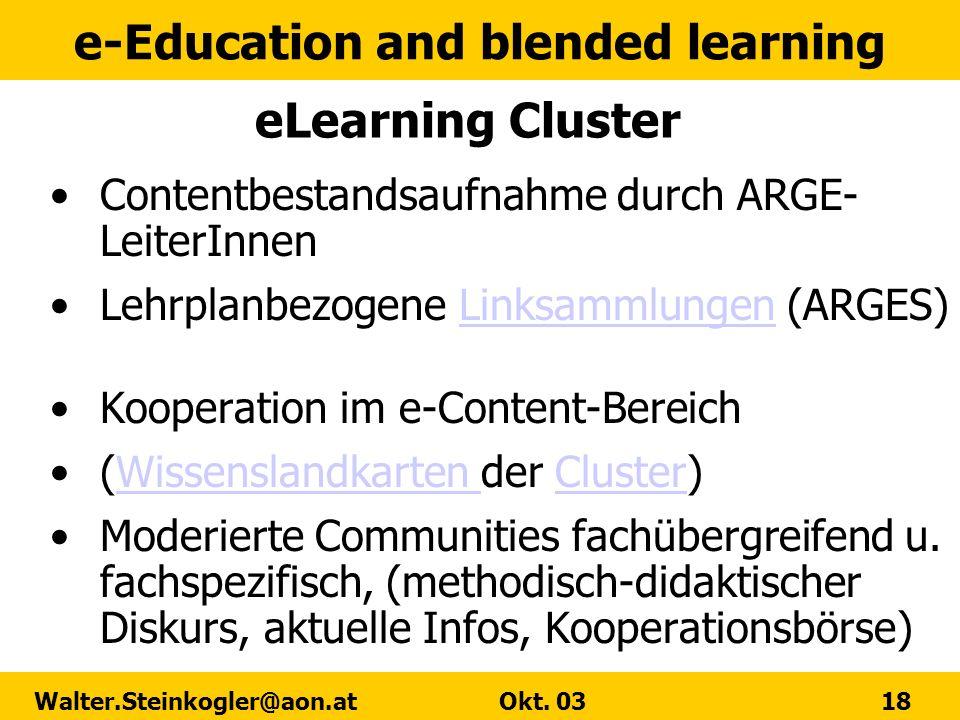 eLearning Cluster Contentbestandsaufnahme durch ARGE-LeiterInnen