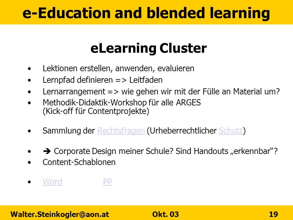 eLearning Cluster Lektionen erstellen, anwenden, evaluieren