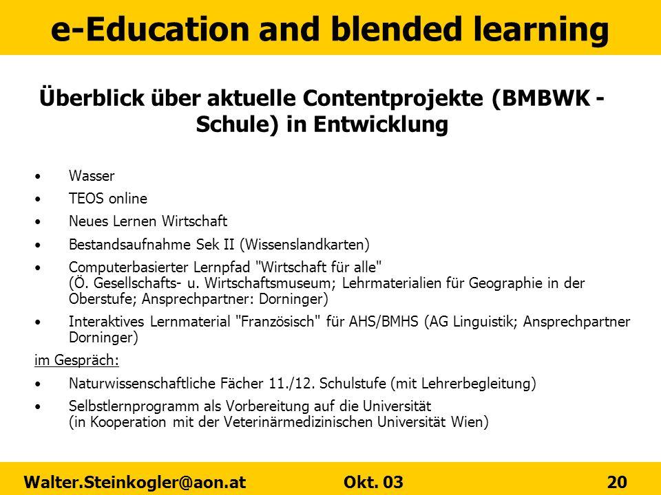 Überblick über aktuelle Contentprojekte (BMBWK - Schule) in Entwicklung