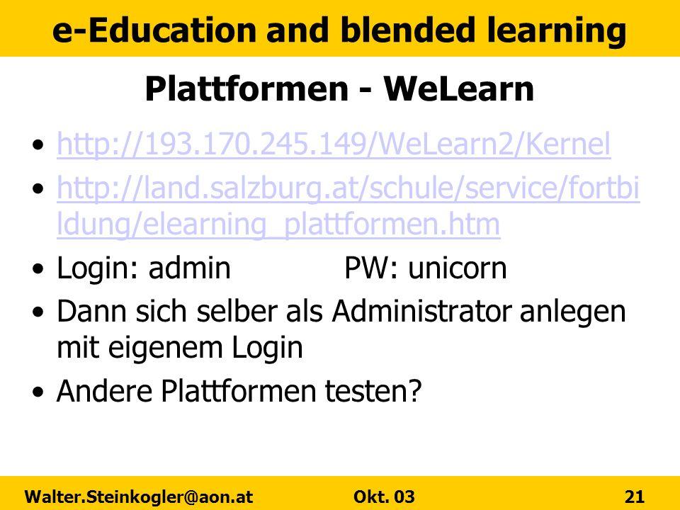 Plattformen - WeLearn http://193.170.245.149/WeLearn2/Kernel