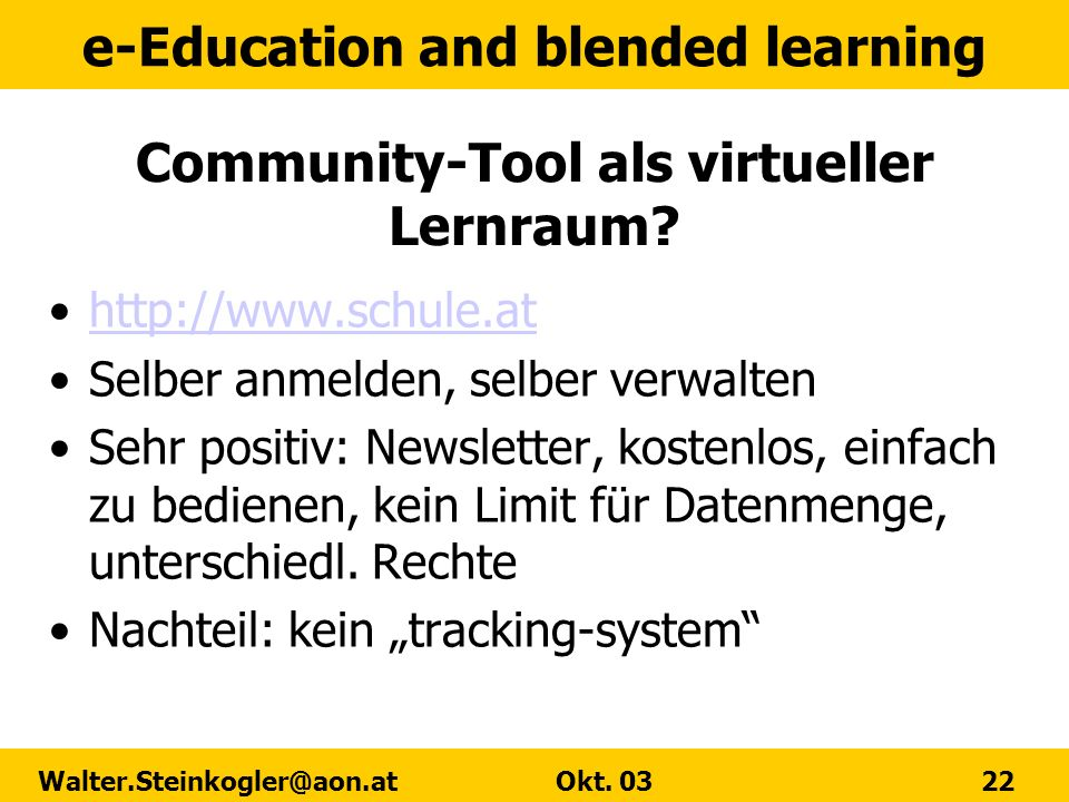 Community-Tool als virtueller Lernraum
