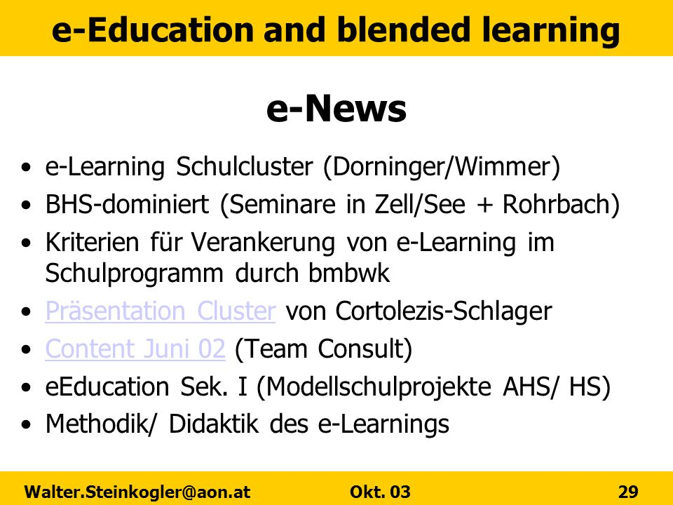 e-News e-Learning Schulcluster (Dorninger/Wimmer)