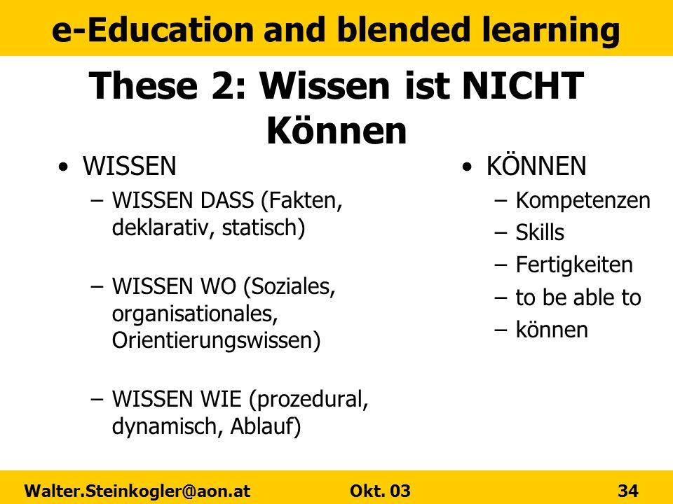 These 2: Wissen ist NICHT Können