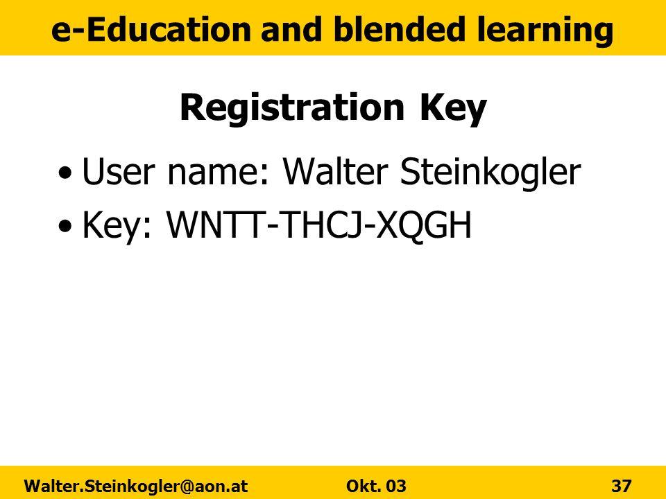 Registration Key User name: Walter Steinkogler Key: WNTT-THCJ-XQGH