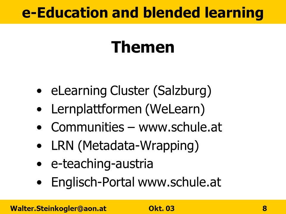 Themen eLearning Cluster (Salzburg) Lernplattformen (WeLearn)