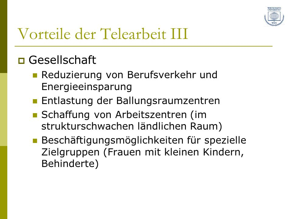 Vorteile der Telearbeit III