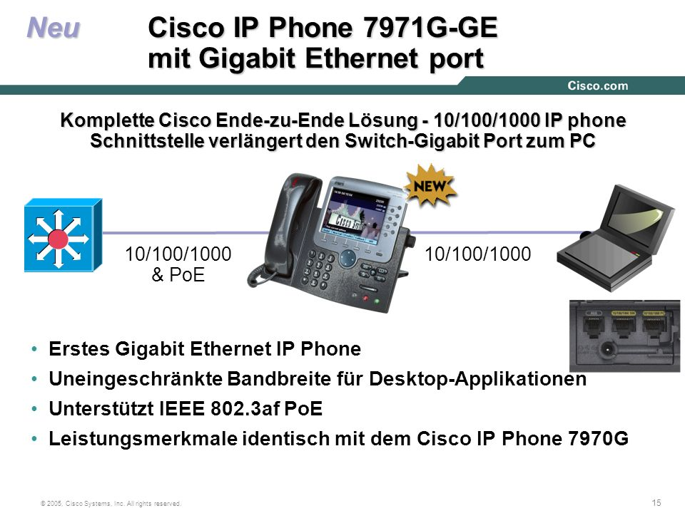 Neu Cisco IP Phone 7971G-GE mit Gigabit Ethernet port