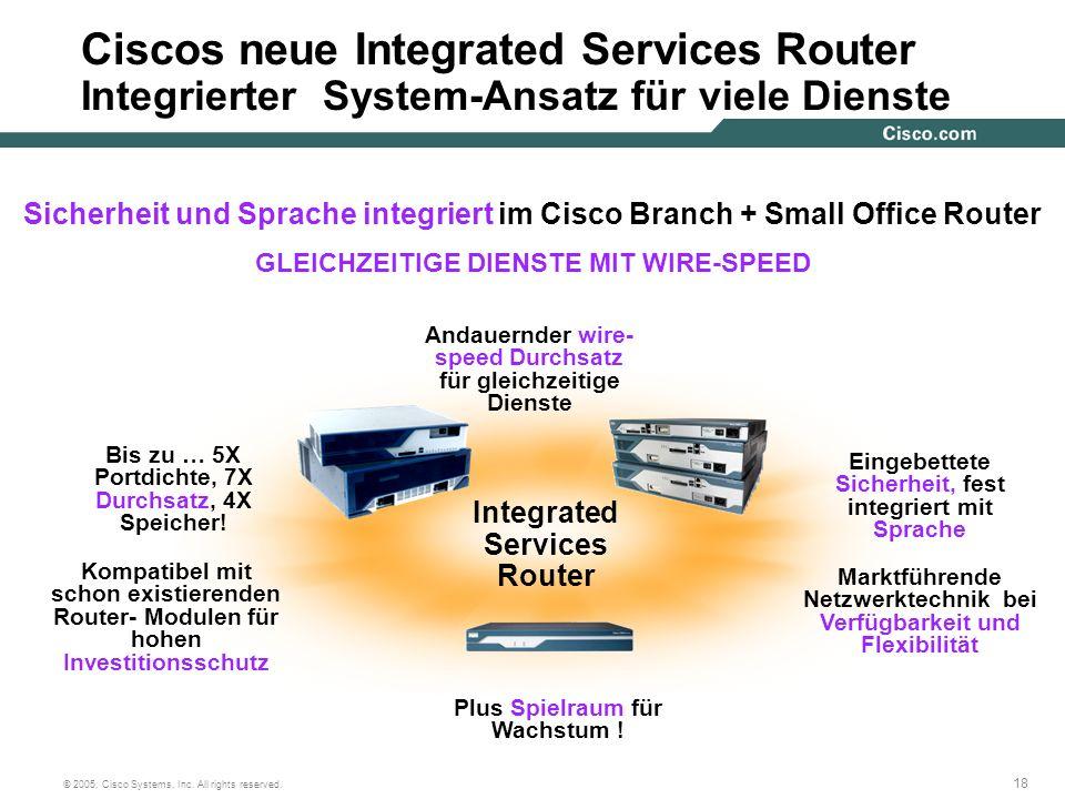 Ciscos neue Integrated Services Router Integrierter System-Ansatz für viele Dienste