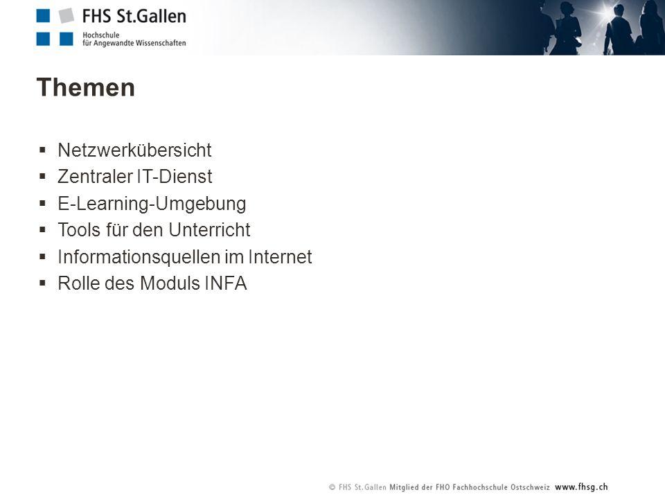 Themen Netzwerkübersicht Zentraler IT-Dienst E-Learning-Umgebung