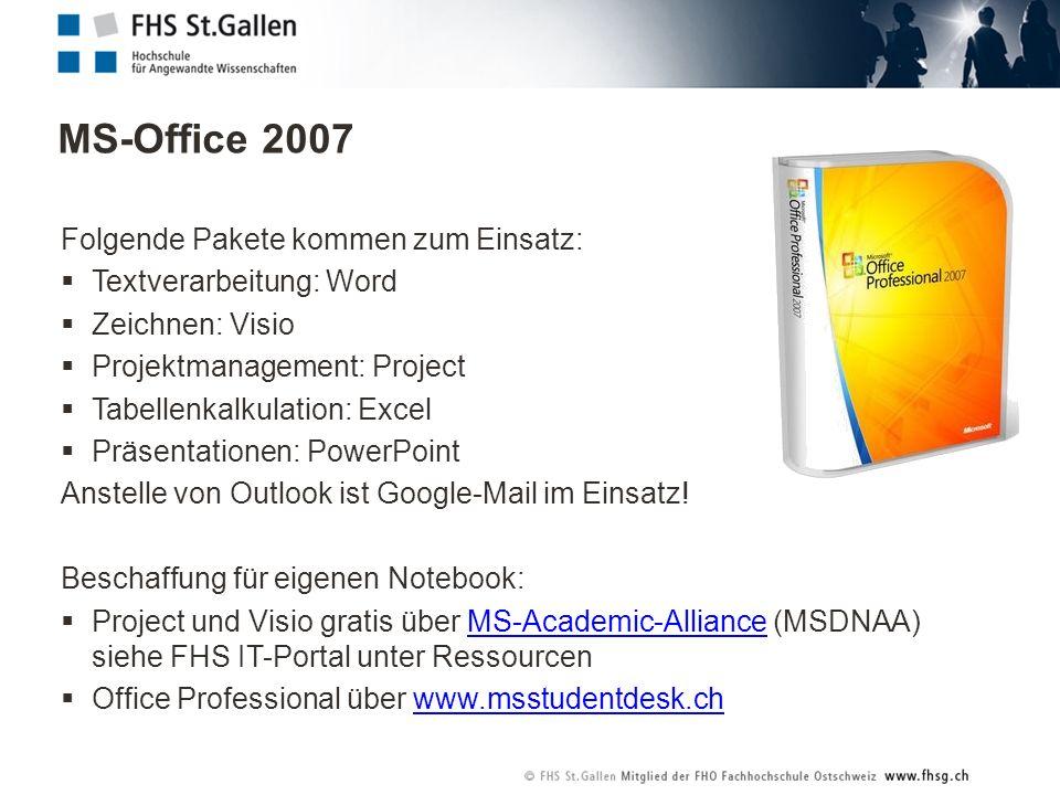 MS-Office 2007 Folgende Pakete kommen zum Einsatz:
