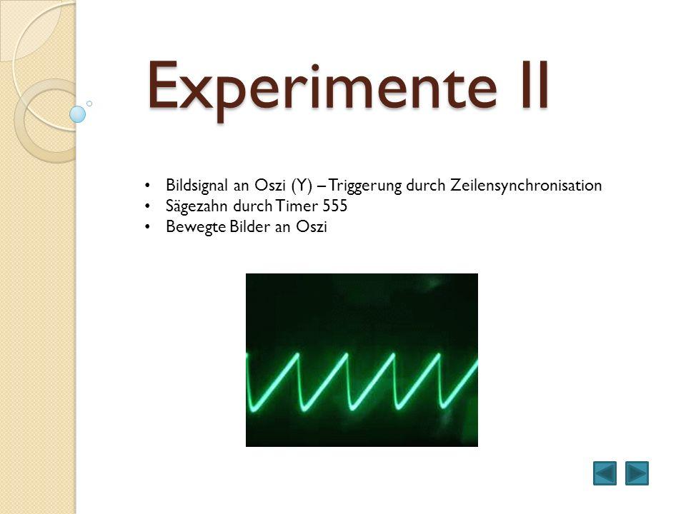 Experimente II Bildsignal an Oszi (Y) – Triggerung durch Zeilensynchronisation. Sägezahn durch Timer 555.