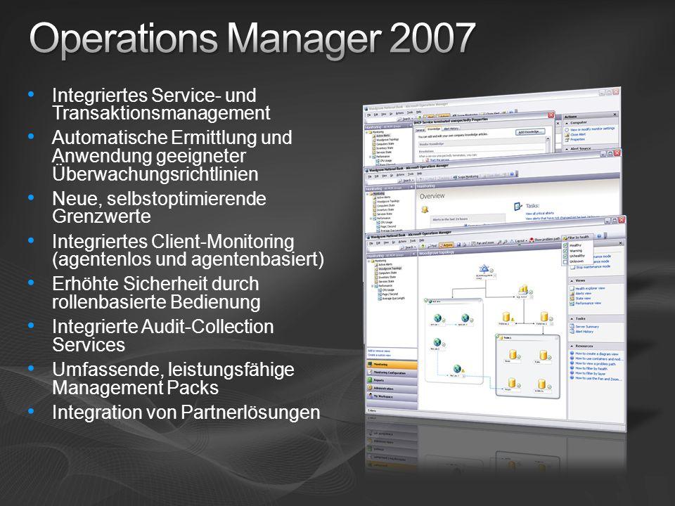 Operations Manager 2007 Integriertes Service- und Transaktionsmanagement. Automatische Ermittlung und Anwendung geeigneter Überwachungsrichtlinien.