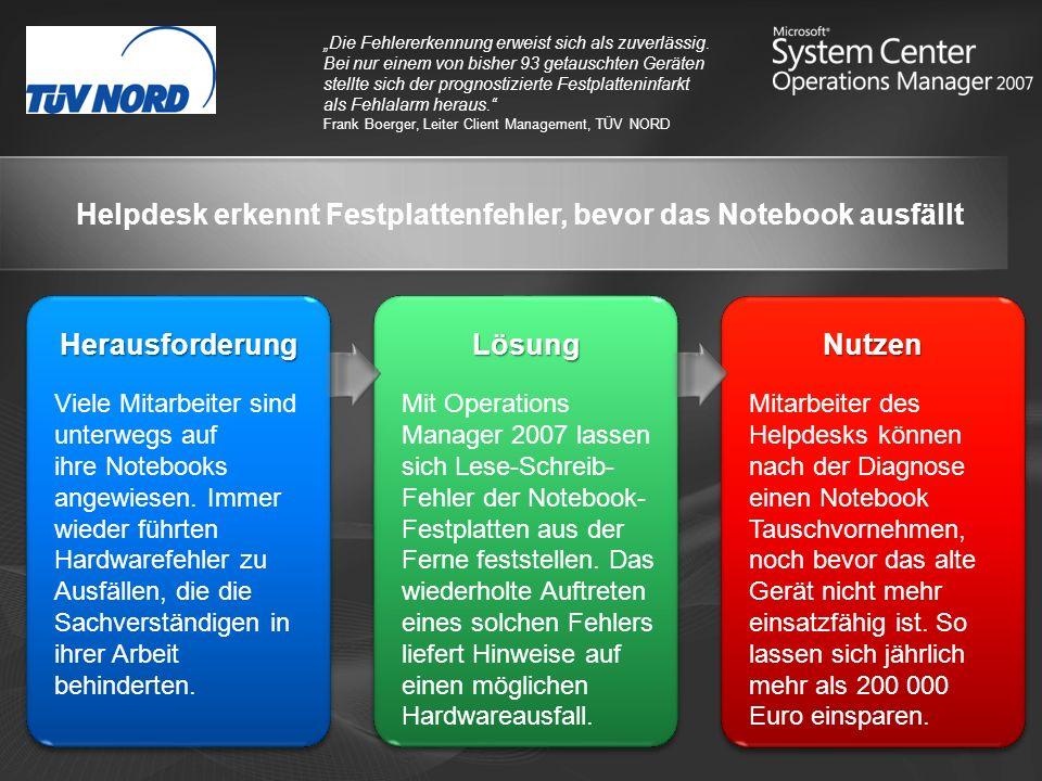 Helpdesk erkennt Festplattenfehler, bevor das Notebook ausfällt
