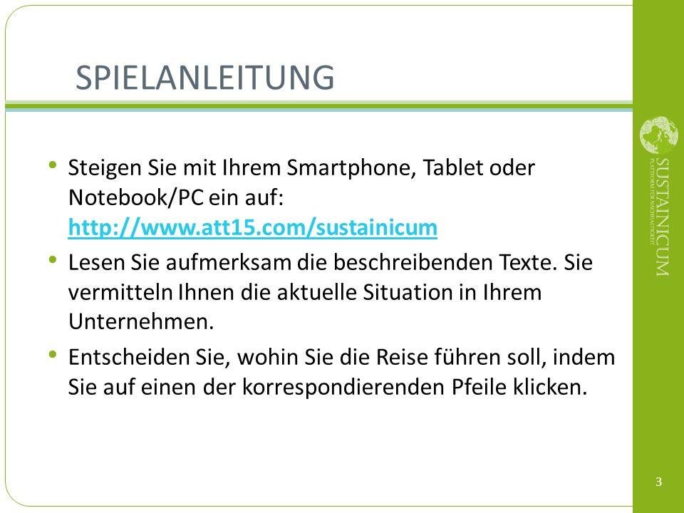 Spielanleitung Steigen Sie mit Ihrem Smartphone, Tablet oder Notebook/PC ein auf: http://www.att15.com/sustainicum.