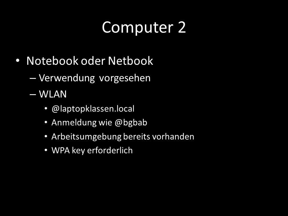 Computer 2 Notebook oder Netbook Verwendung vorgesehen WLAN