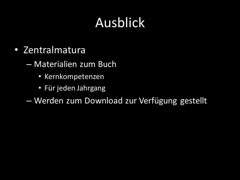 Ausblick Zentralmatura Materialien zum Buch
