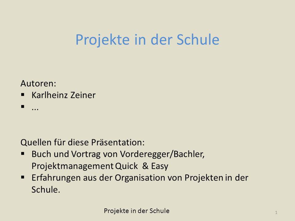 Projekte in der Schule Autoren: Karlheinz Zeiner ...