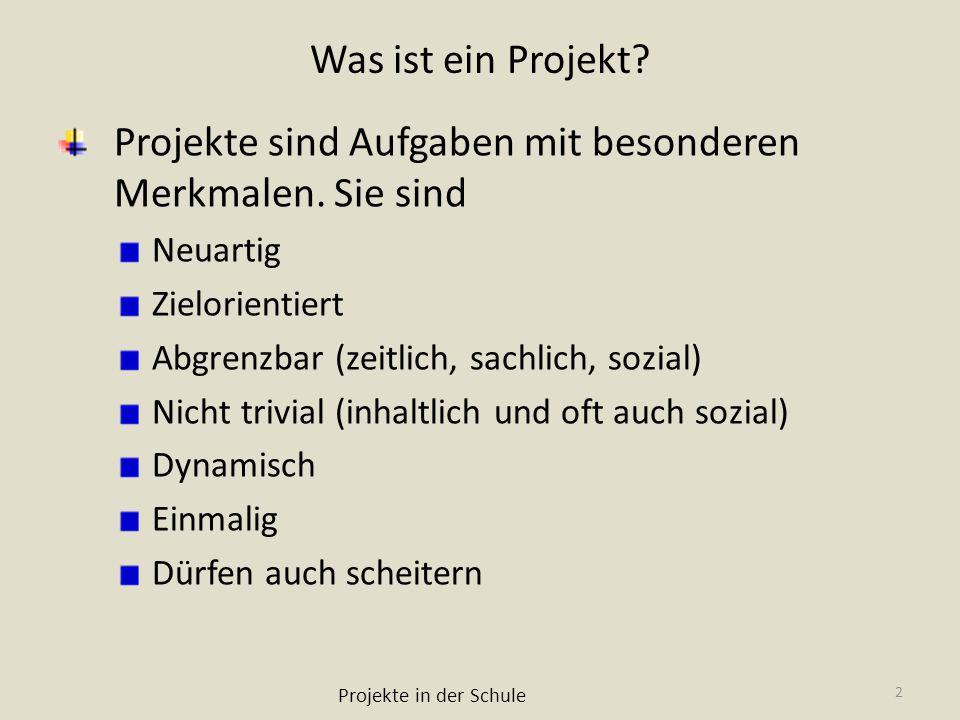Projekte sind Aufgaben mit besonderen Merkmalen. Sie sind