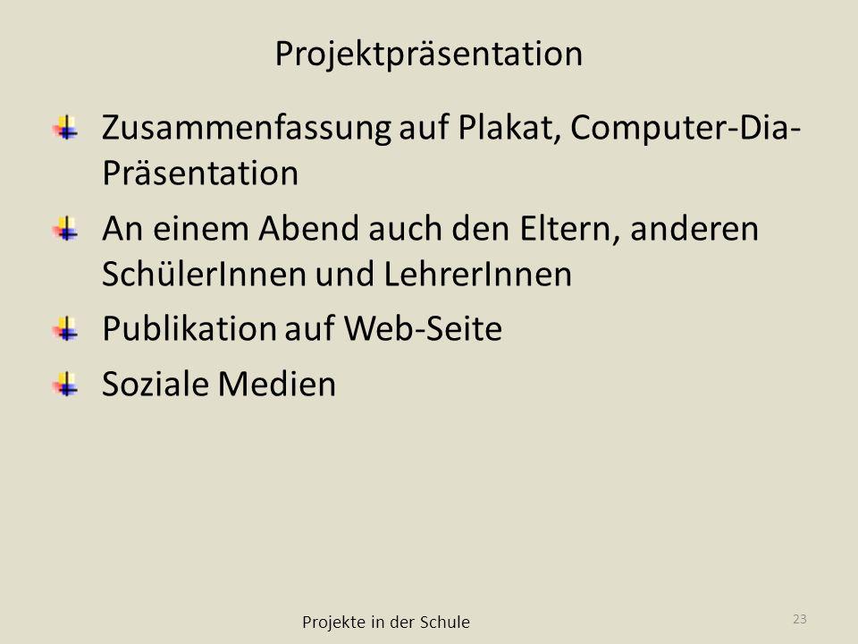 Zusammenfassung auf Plakat, Computer-Dia-Präsentation