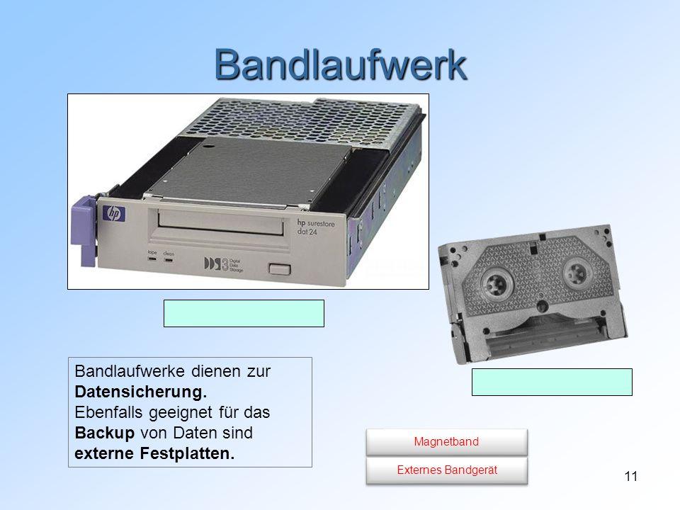Bandlaufwerk Bandlaufwerke dienen zur Datensicherung. Ebenfalls geeignet für das Backup von Daten sind externe Festplatten.