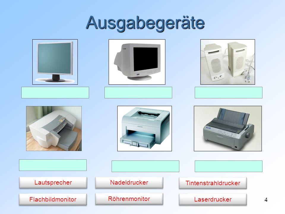 Ausgabegeräte Lautsprecher Nadeldrucker Tintenstrahldrucker