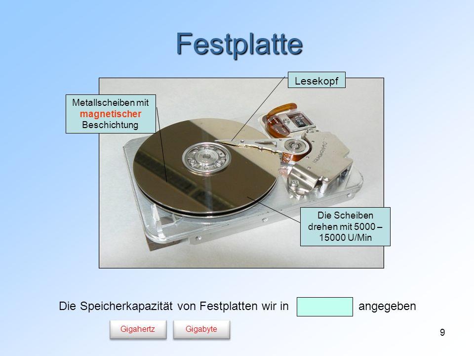 Festplatte Die Speicherkapazität von Festplatten wir in angegeben