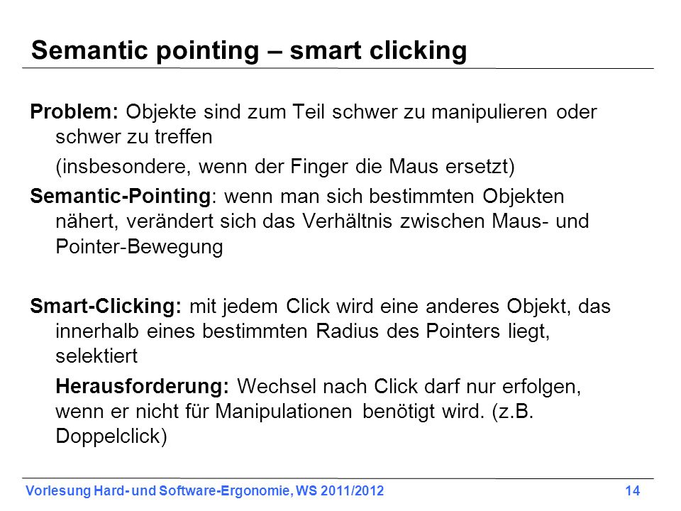 Semantic pointing – smart clicking