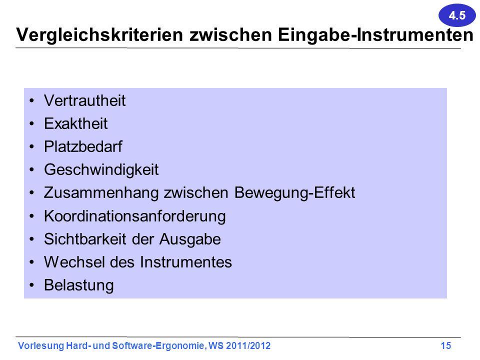Vergleichskriterien zwischen Eingabe-Instrumenten