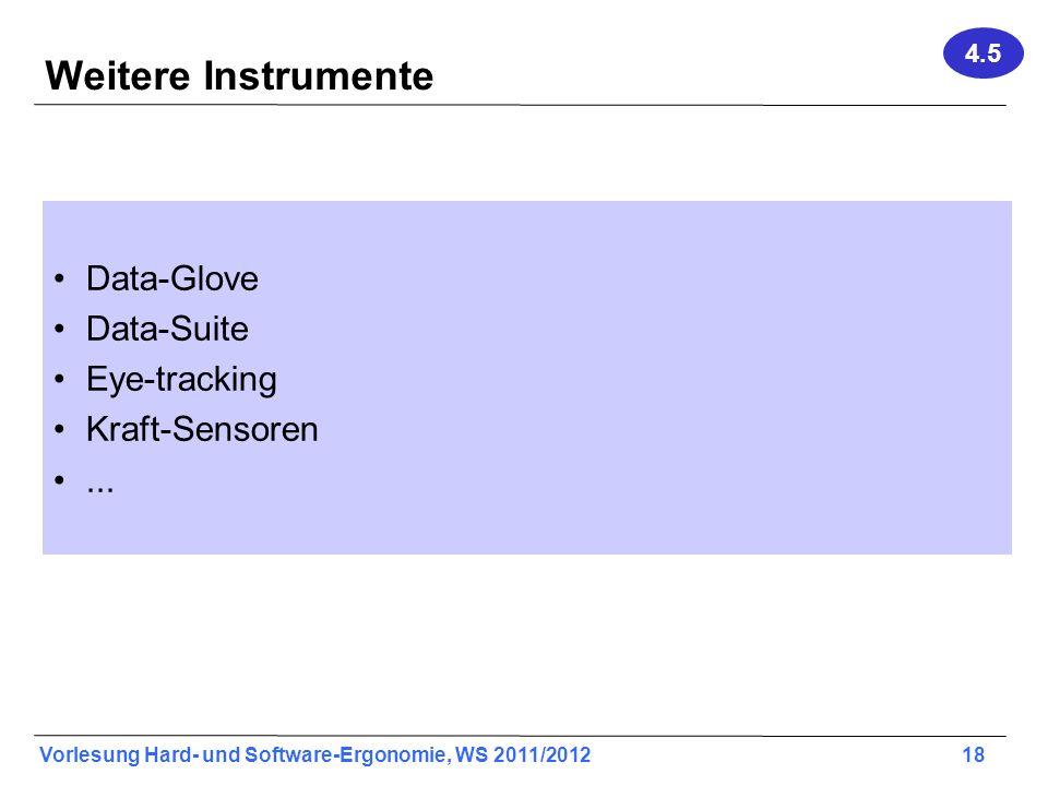 Weitere Instrumente Data-Glove Data-Suite Eye-tracking Kraft-Sensoren