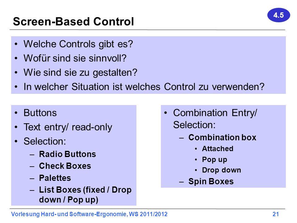 Screen-Based Control Welche Controls gibt es Wofür sind sie sinnvoll