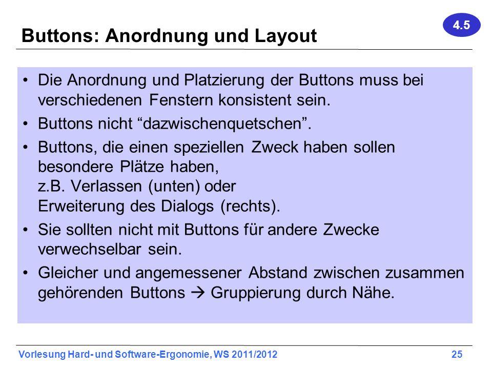 Buttons: Anordnung und Layout