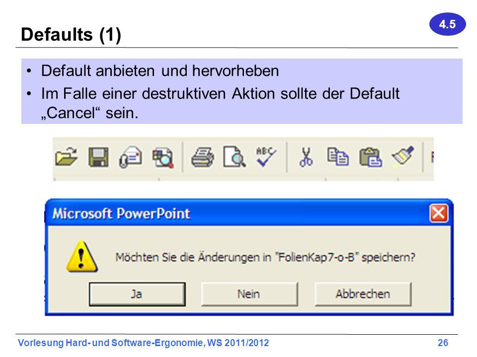 Defaults (1) Default anbieten und hervorheben