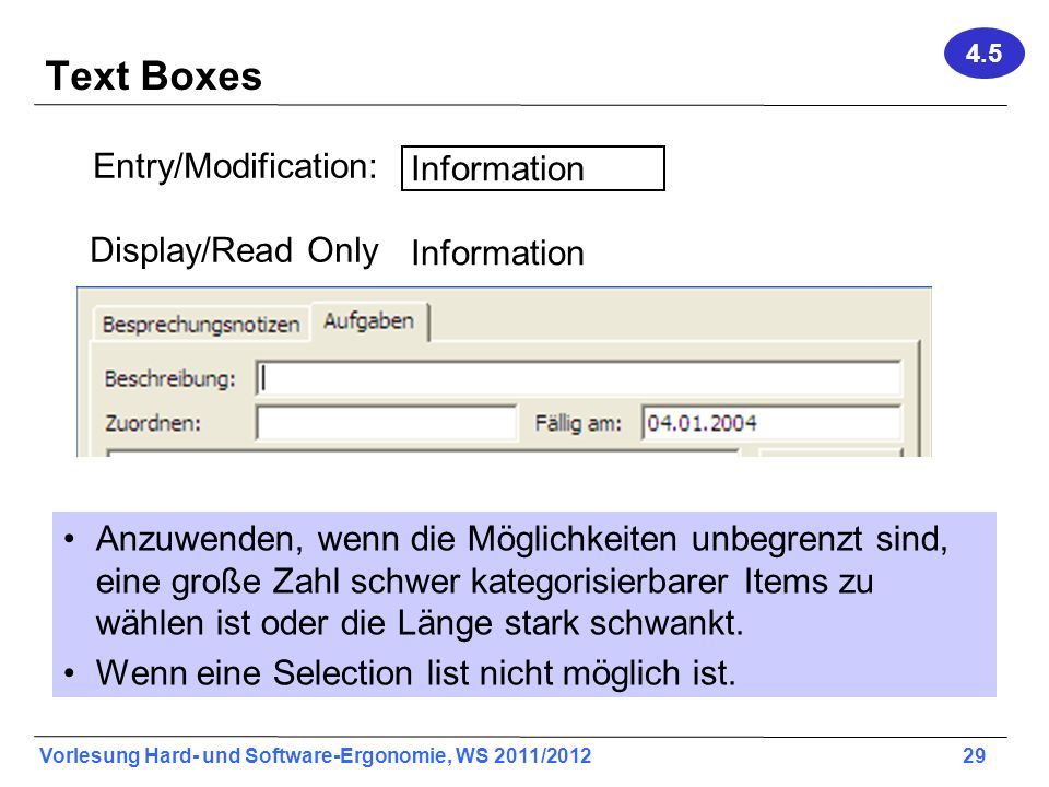 Text Boxes Entry/Modification: Information Display/Read Only