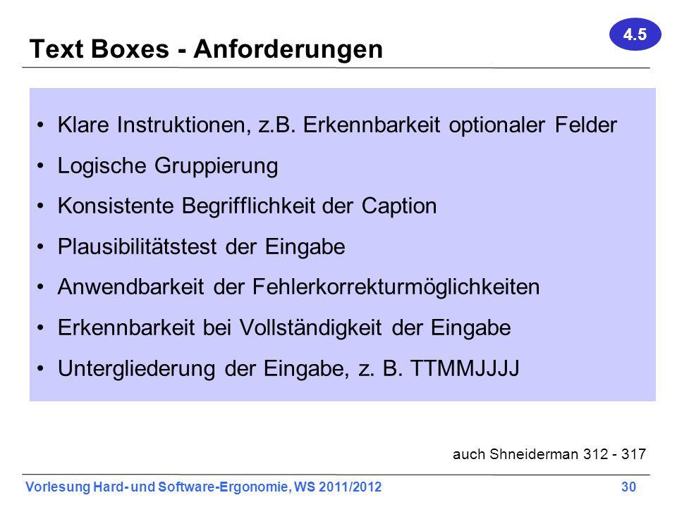 Text Boxes - Anforderungen