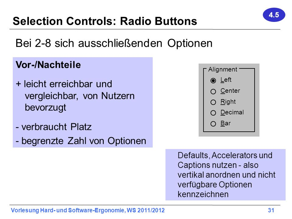 Selection Controls: Radio Buttons
