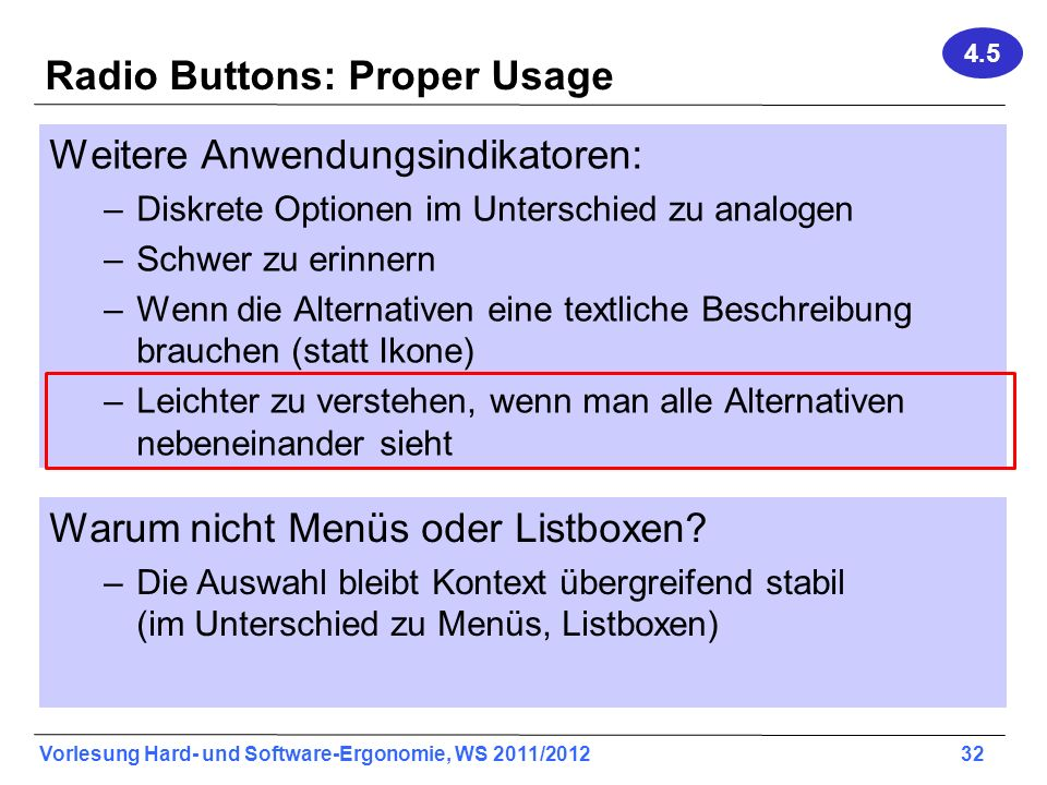 Radio Buttons: Proper Usage