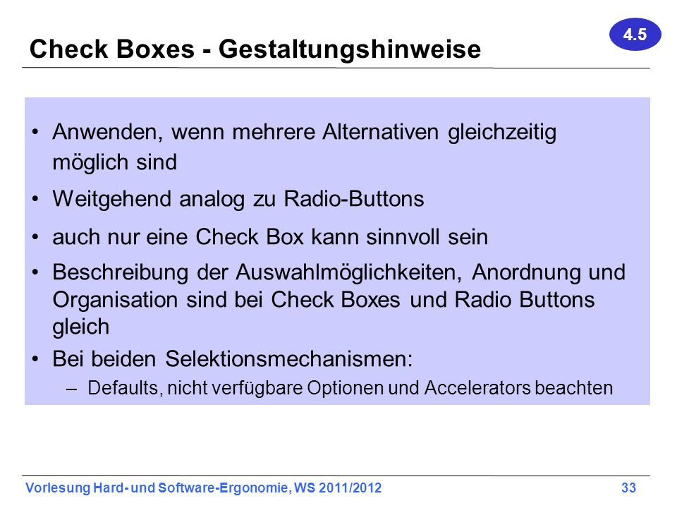 Check Boxes - Gestaltungshinweise